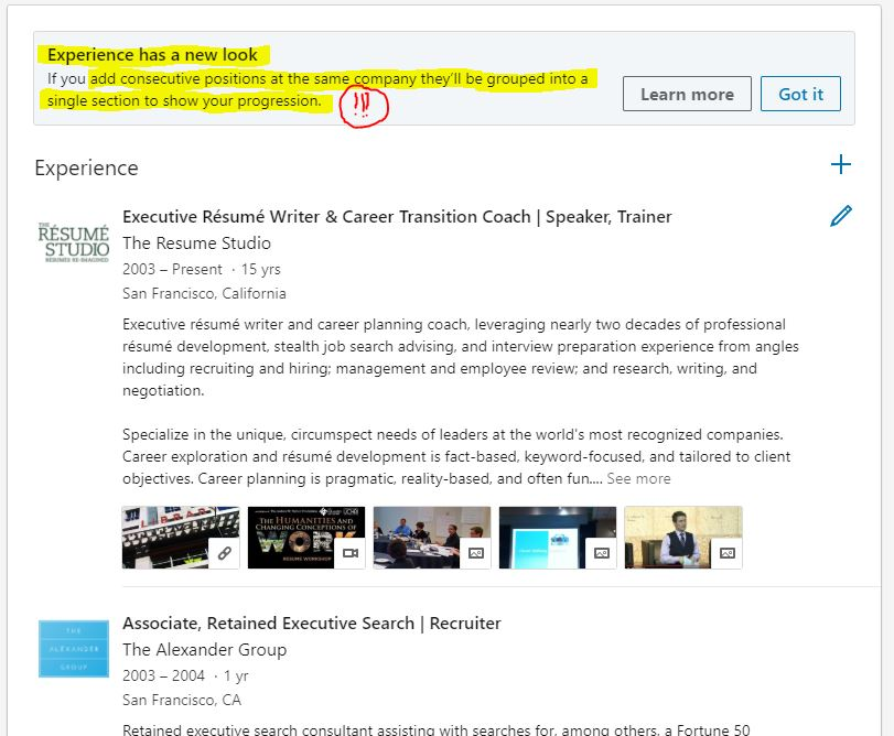 LinkedIn\u0027s Experience Section Has a New Look! Multiple Job Titles at