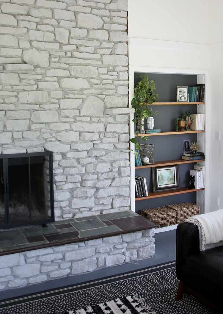 Whitewash Fireplace Before And After Our Farmhouse White Washing A Stone Fireplace Stars Field
