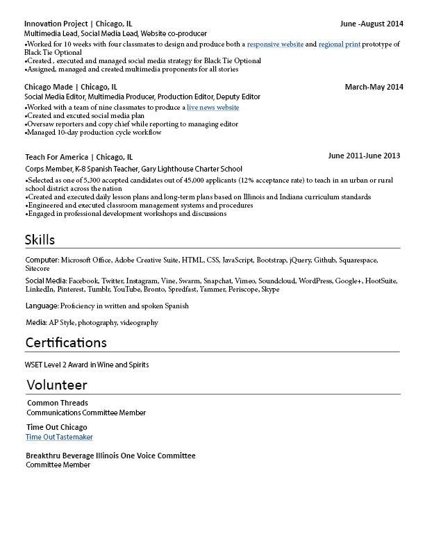 Resume \u2014 Emily Weinstein