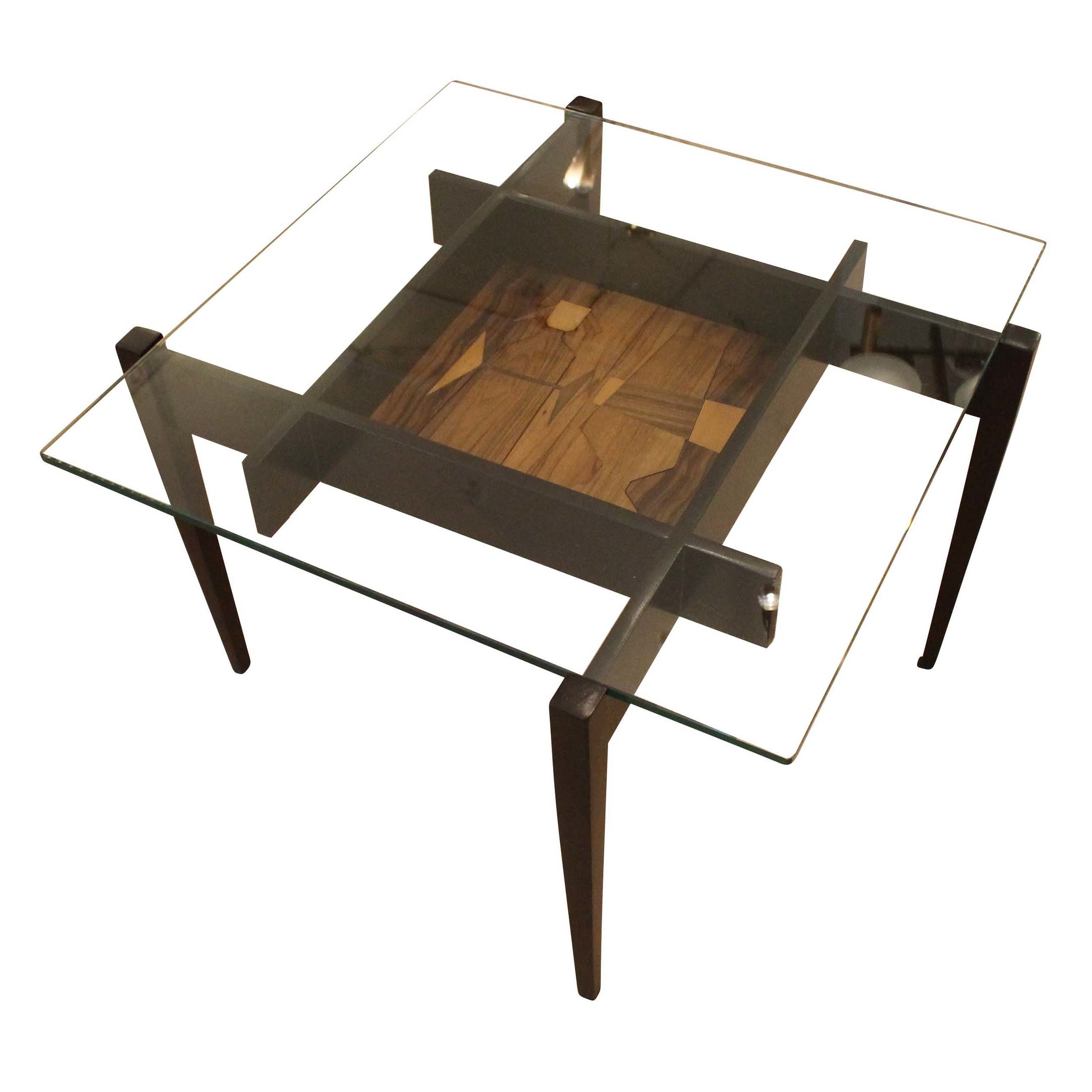 Coffee And Side Tables Square Coffee Or Side Table With Center Etching Italy 1950s