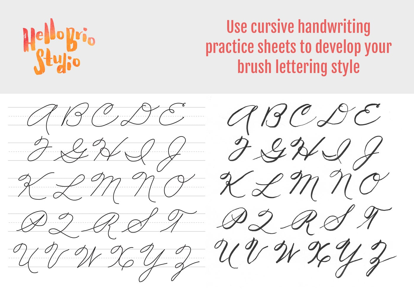 Practice brush lettering with cursive handwriting worksheets Hello