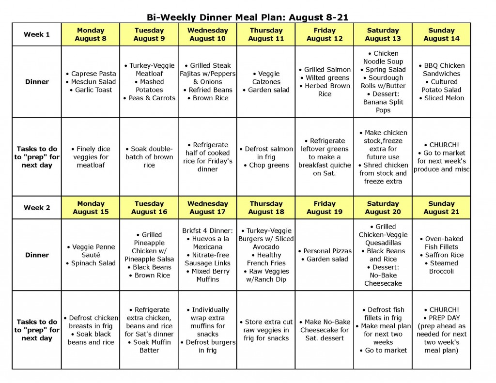 Bi-Weekly Dinner Meal Plan for August 8-21 \u2014 The Better Mom