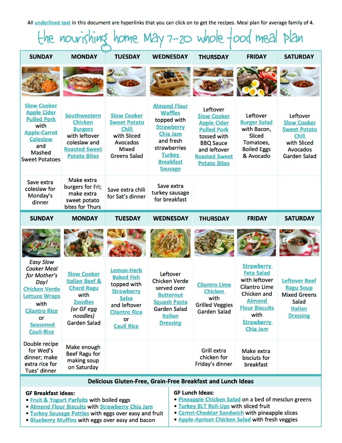 Bi-Weekly Whole Food Meal Plan for May 7-20 \u2014 the Better Mom - healthy meal plan