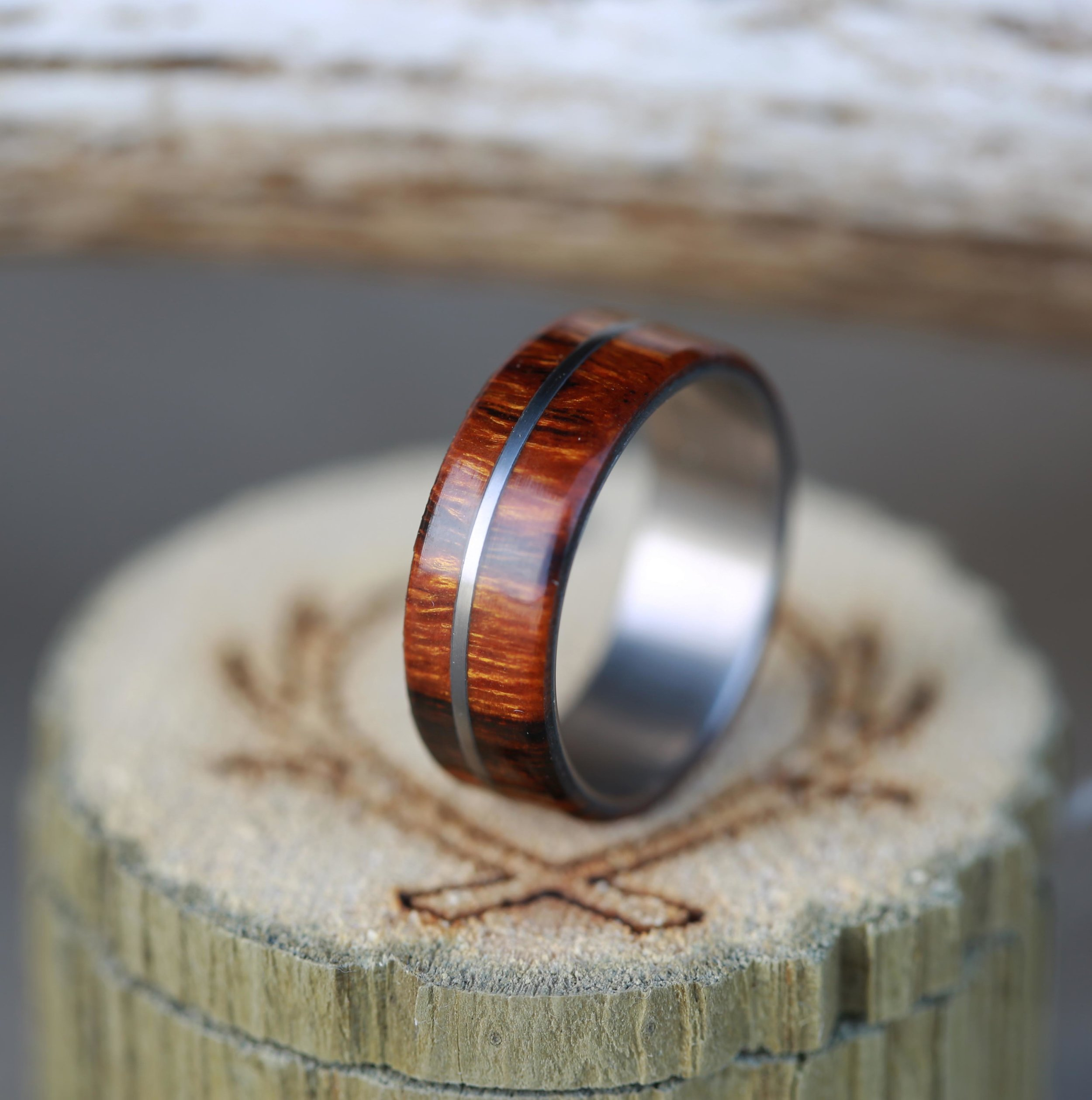 mens wood wedding band with metal inlay antler wedding ring MEN S WOOD WEDDING BAND WITH METAL INLAY available in titanium silver or gold STAGHEAD DESIGNS
