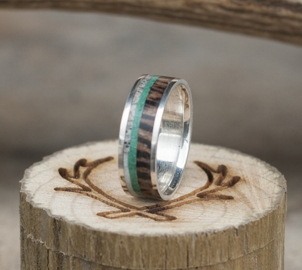 zebra wood wedding band with antler malachite available in titanium silver black zirconium or 10k gold antler wedding band ZEBRA WOOD WEDDING BAND WITH ANTLER MALACHITE available in titanium silver black zirconium or 10k gold STAGHEAD DESIGNS