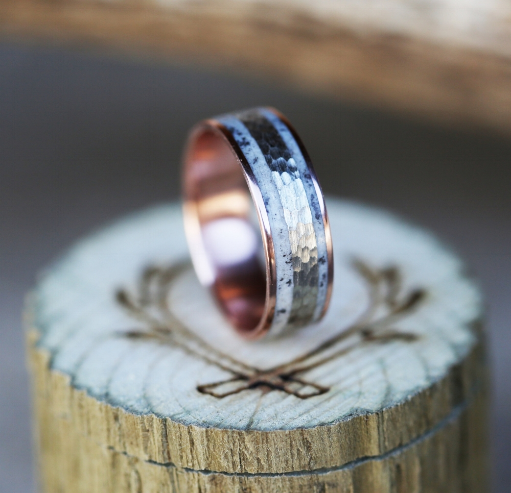 10k rose gold wedding band w hammered white gold antler inlay available in 10k rose white yellow gold rose gold wedding bands 10K ROSE GOLD WEDDING BAND W HAMMERED WHITE GOLD ANTLER INLAY available in 10k rose white yellow gold STAGHEAD DESIGNS