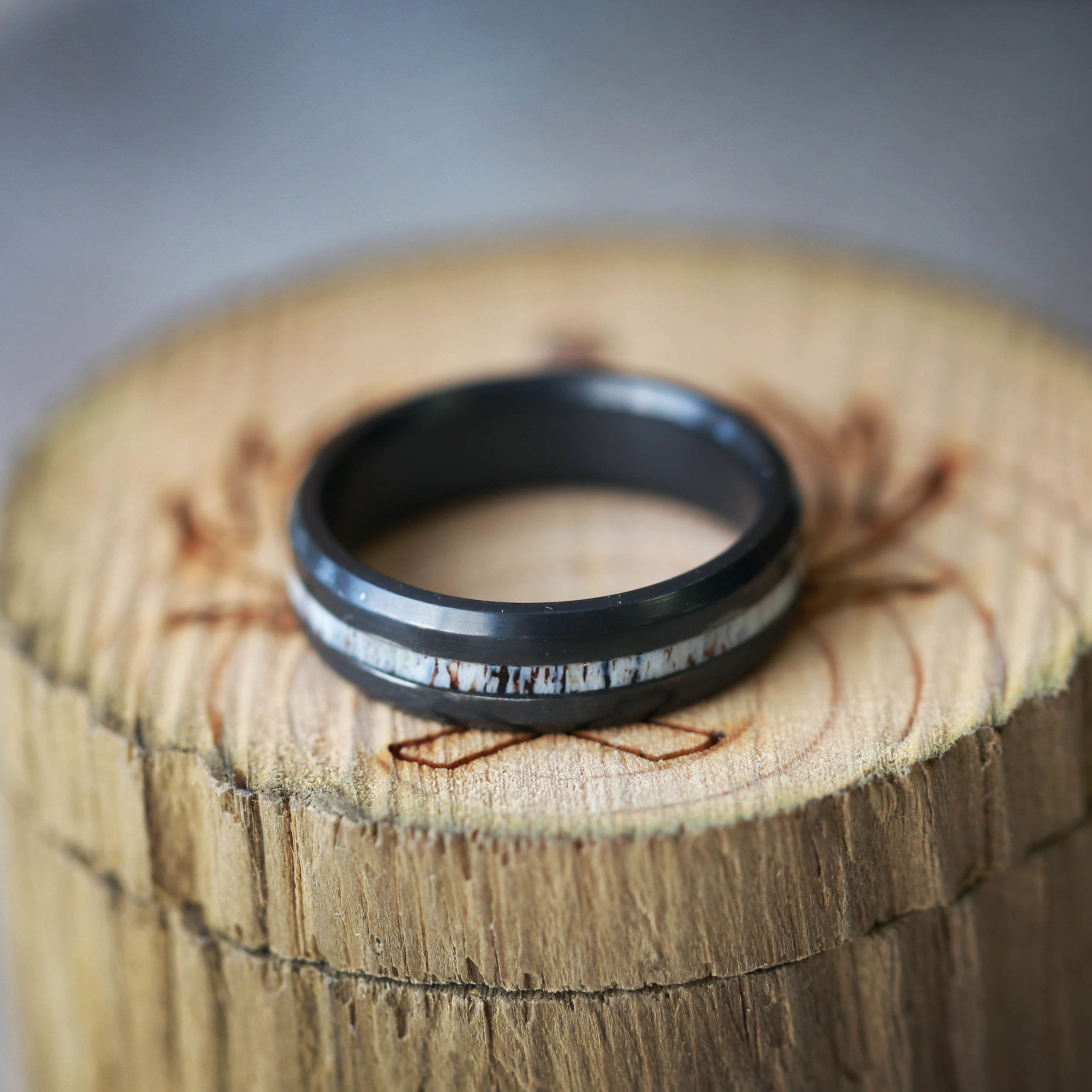 woodandantlerringscontinued antler wedding ring ant channel blackz FIRE TREATED BLACK ZIRCONIUM ELK ANTLER WEDDING BAND from 00