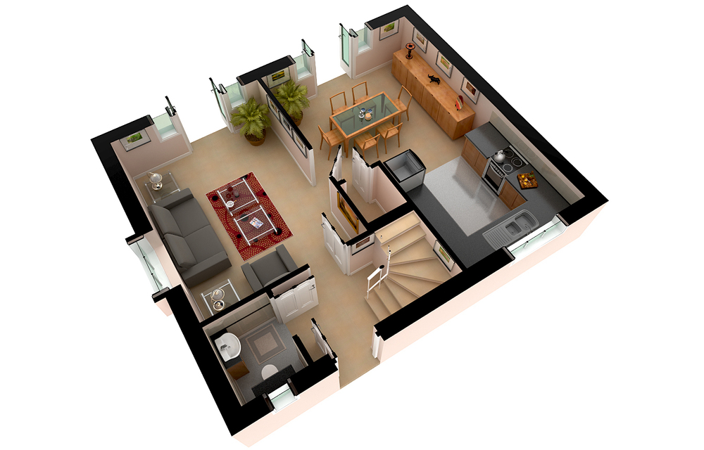 3D Floor Plans and Layout Renderings - 3d house plans