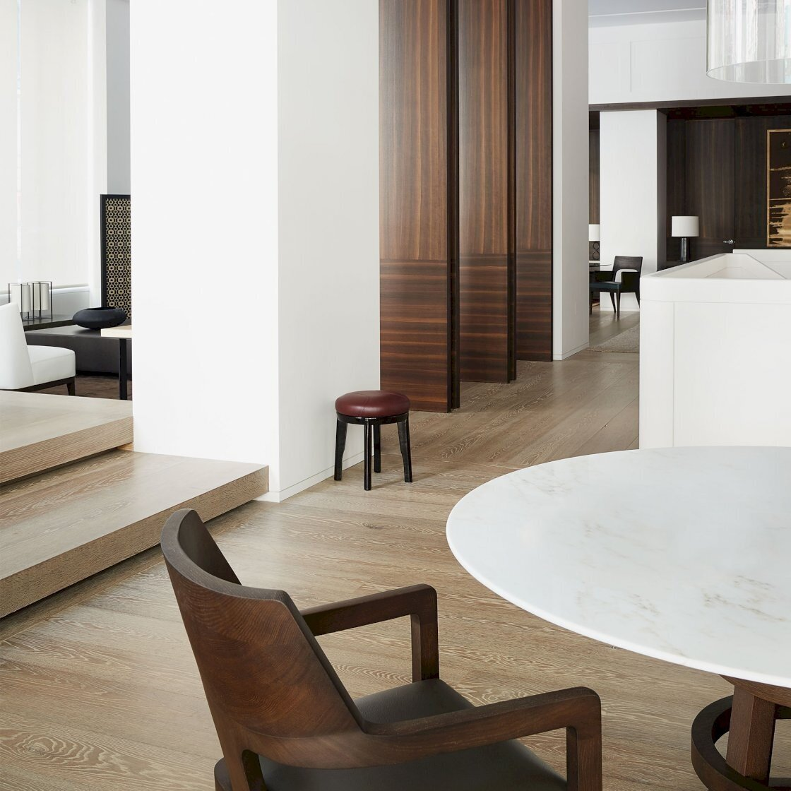Blog Reclaimed And Custom Hardwood Flooring The Finishing Touch On A New York Showroom The Hudson Company