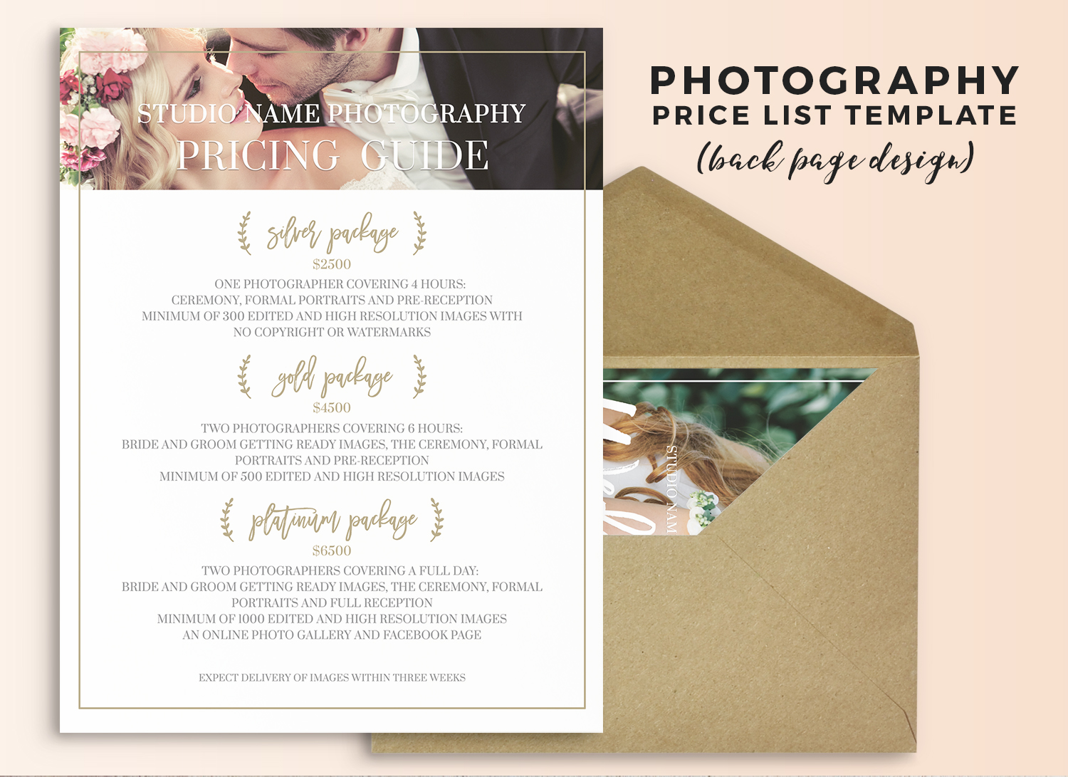 Wedding photography price sheet template - Olivia - wedding price list