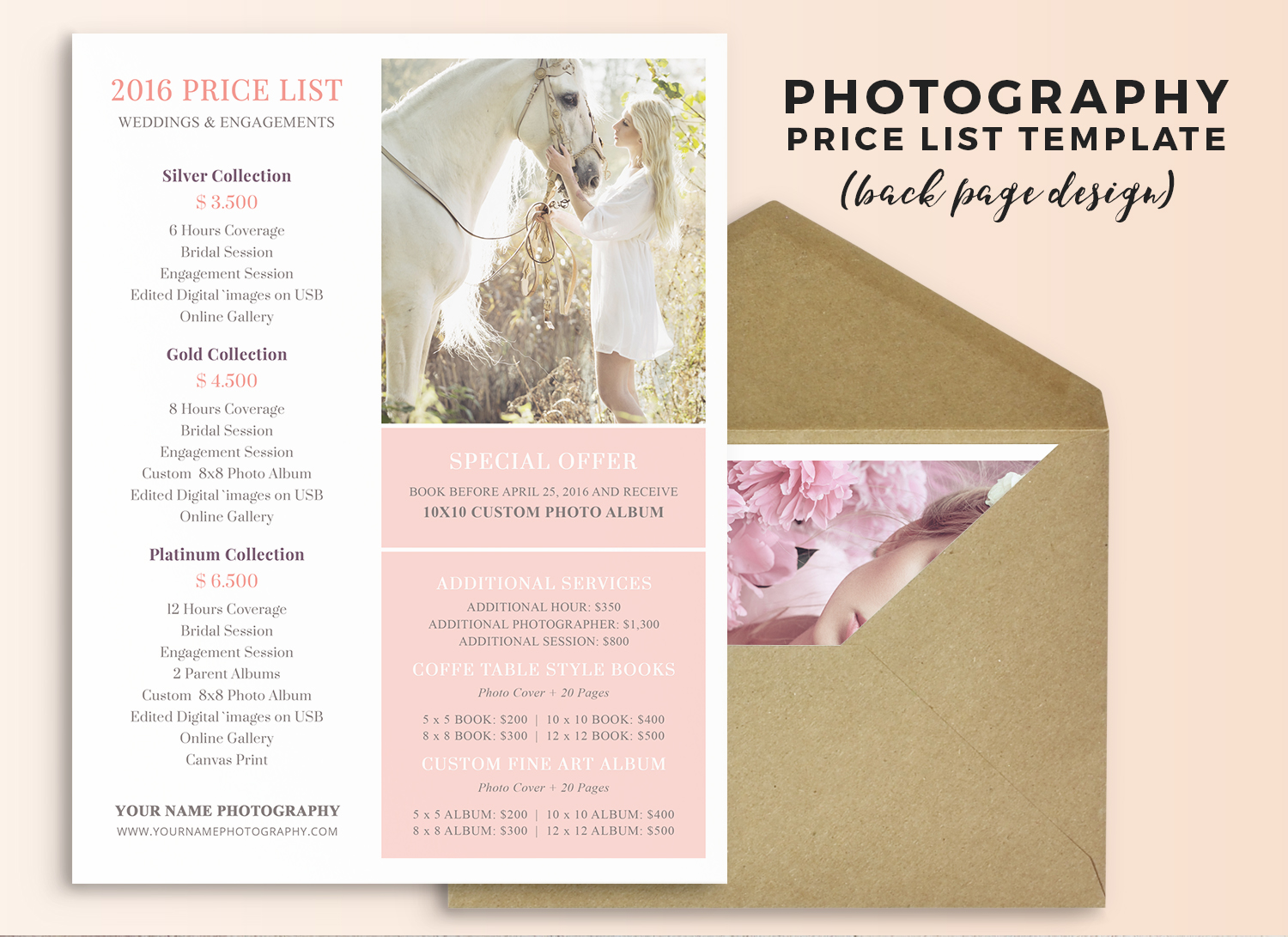 Wedding photography pricing guide template - Megan