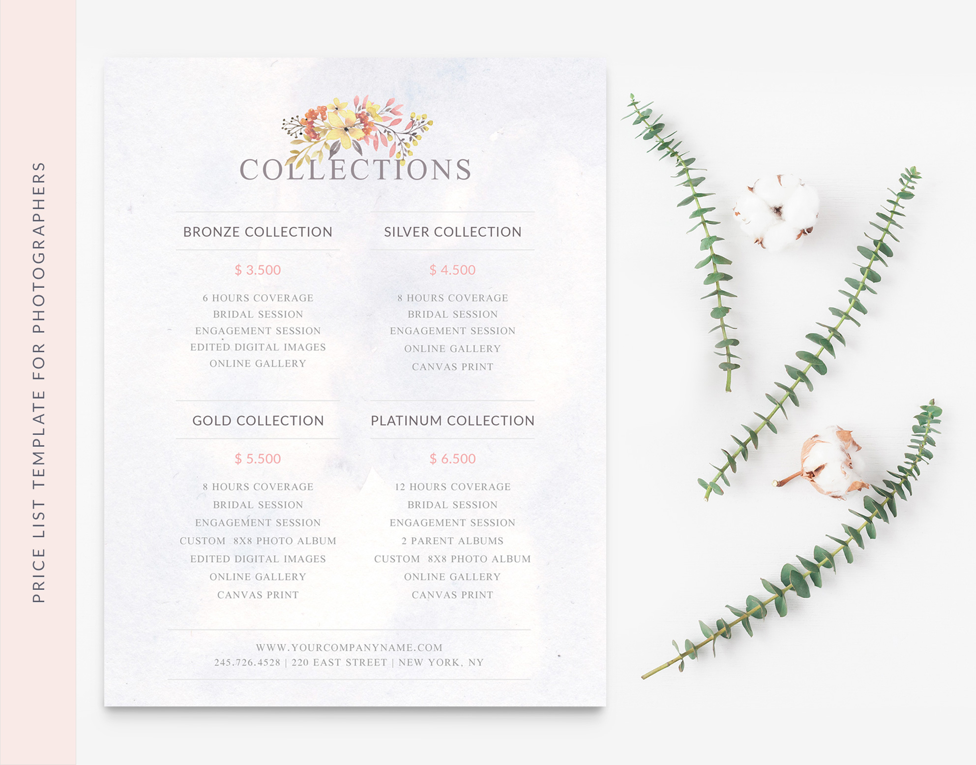 Wedding Photographer Price List Template - Moi Cherie - price list template