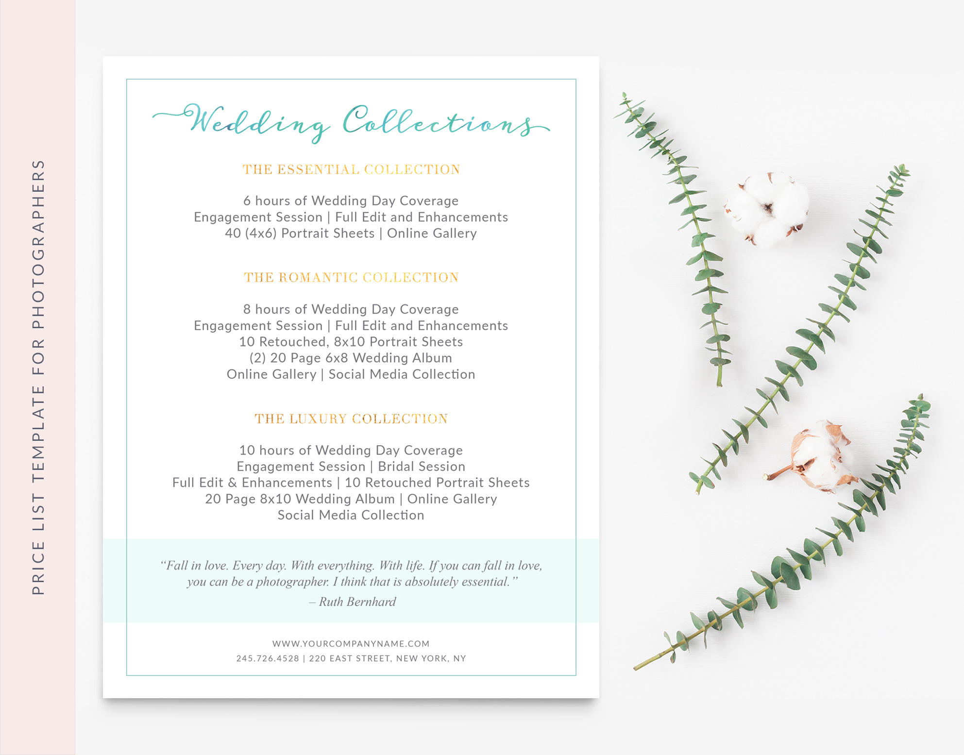 Price Sheet Photography Template - Sweet Dreams