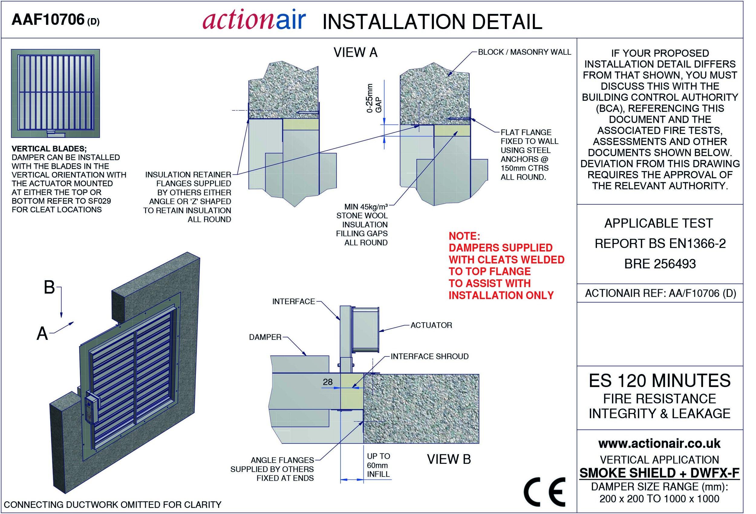 Masonry Wall  Flange - Actionair Fire and Smoke Damper Installation