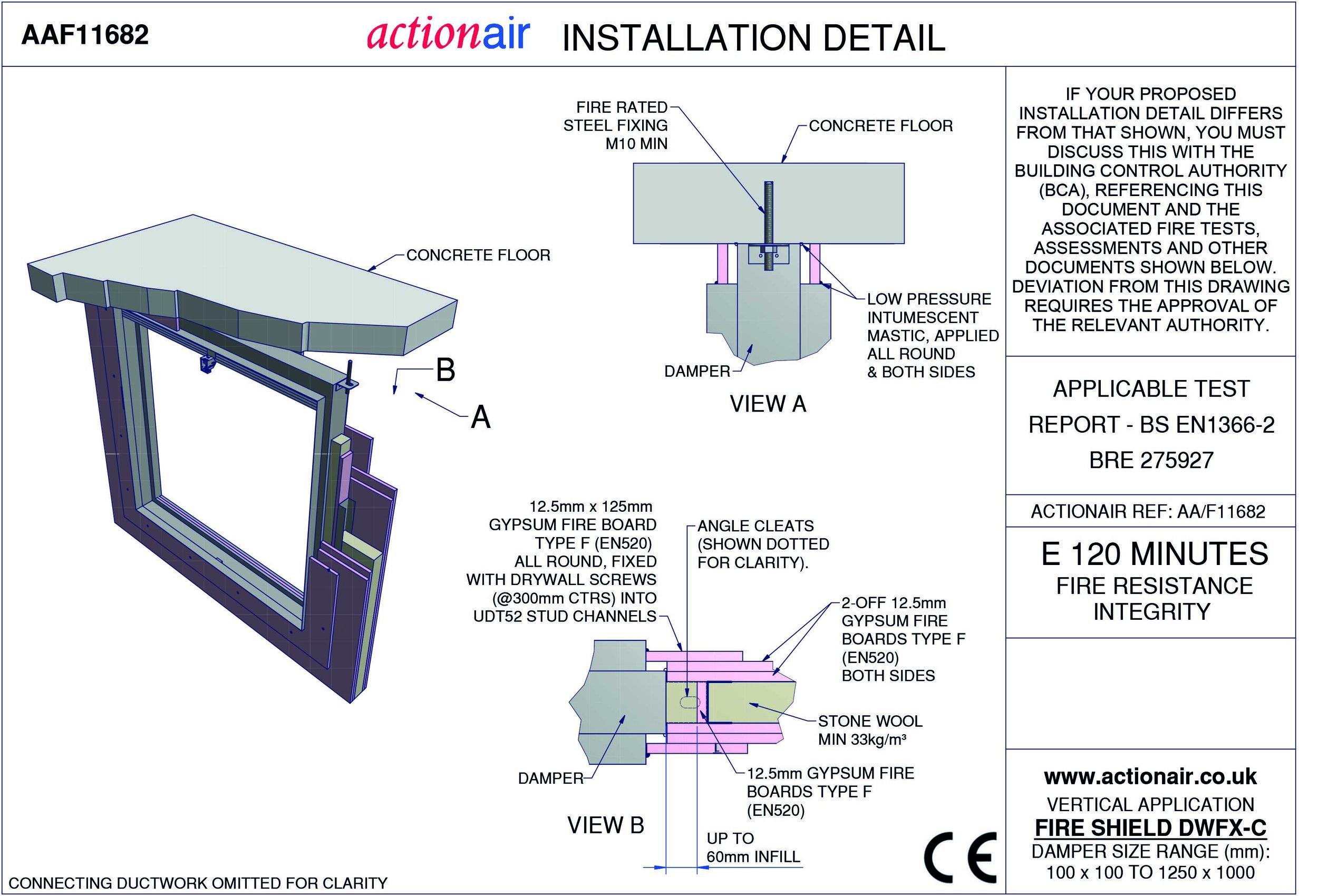 Actionair Fire and Smoke Damper Installation Manual Swegon Air