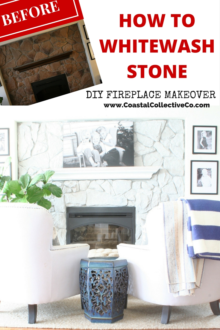 Whitewash Fireplace Before And After How To Whitewash Stone Diy Fireplace Makeover Coastal