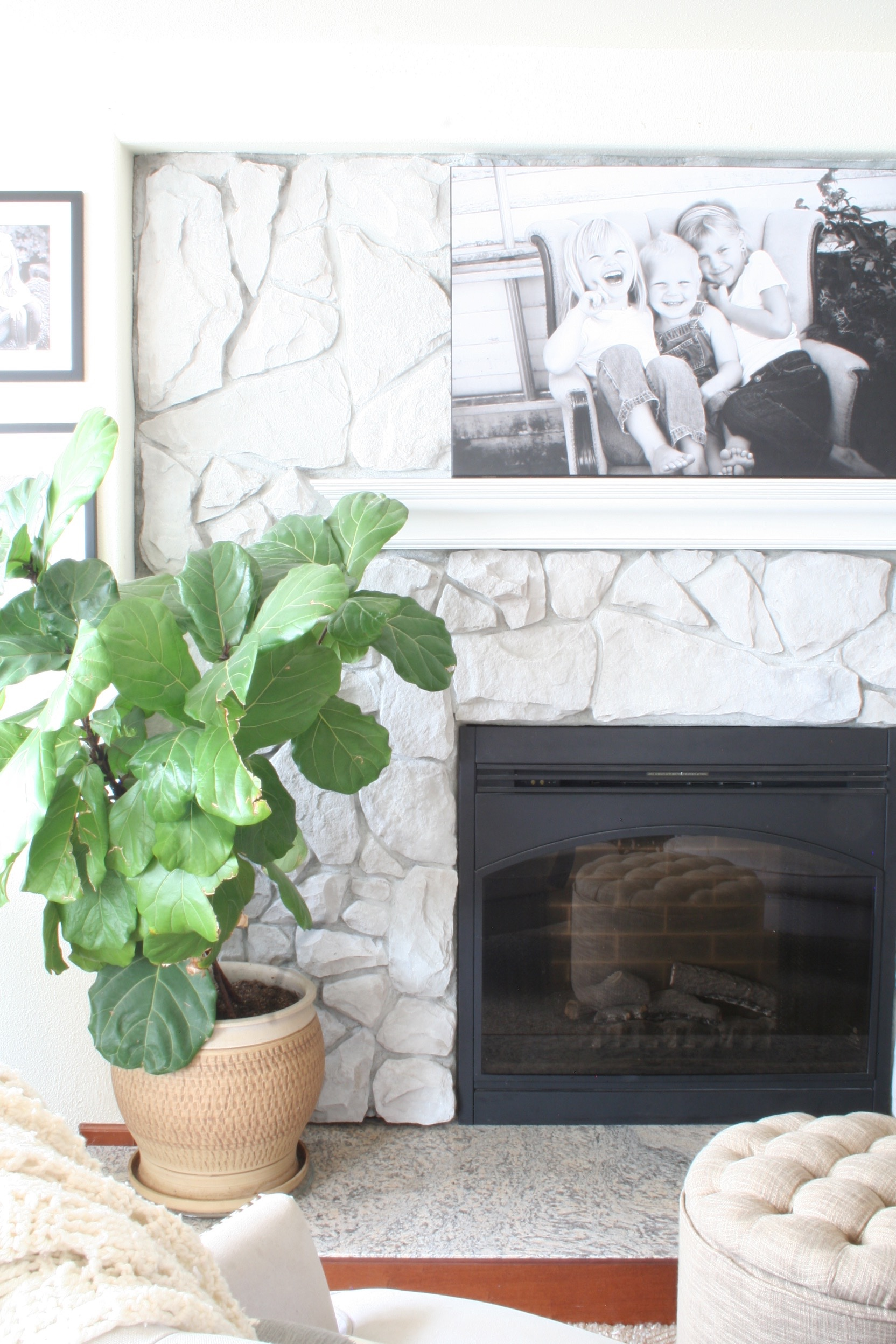 Fireplaces With Stone Surrounding How To Whitewash Stone Diy Fireplace Makeover Coastal