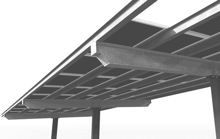 Solar Single Purlin Over W End Cantilever Carport - Metal Overhang Carport