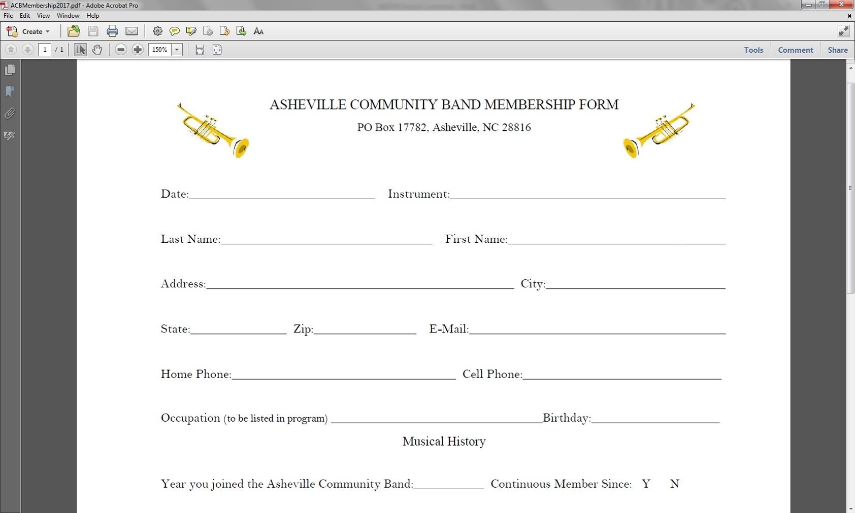 Member Enrollment Form \u2014 Asheville Community Band