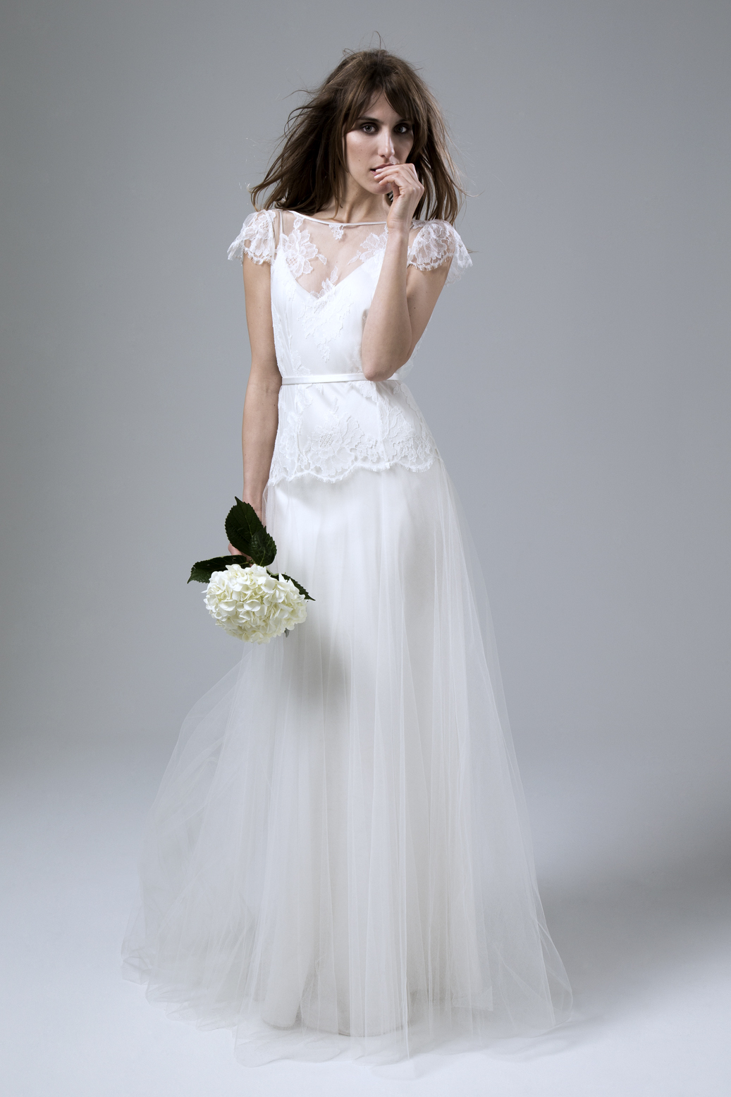 collection chantilly lace wedding dress Iris Jane French Chantilly Lace and Tulle Wedding Dress by Halfpenny London
