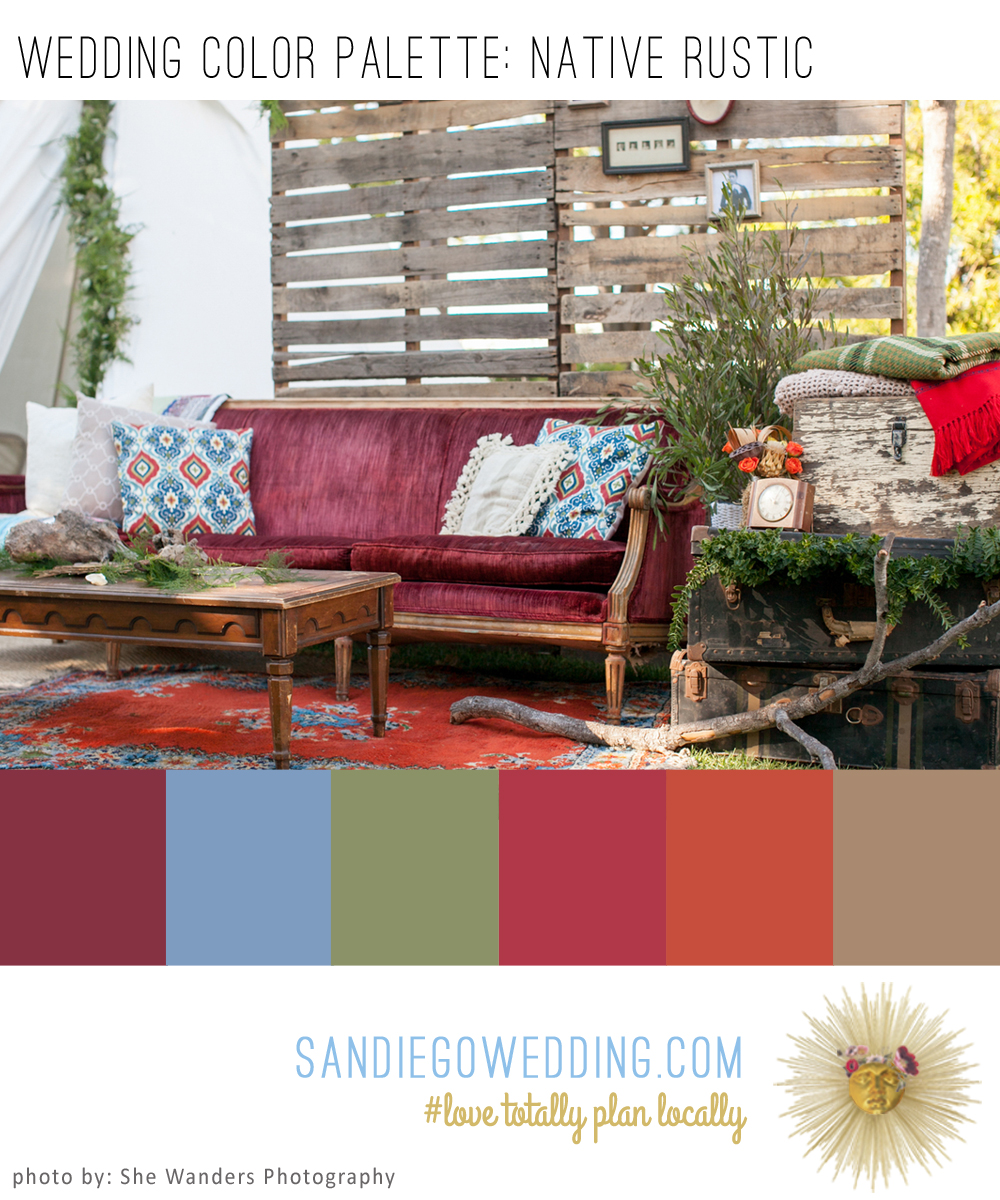 Rustic Native Wedding Color Palette Board Showcases Bold Colors