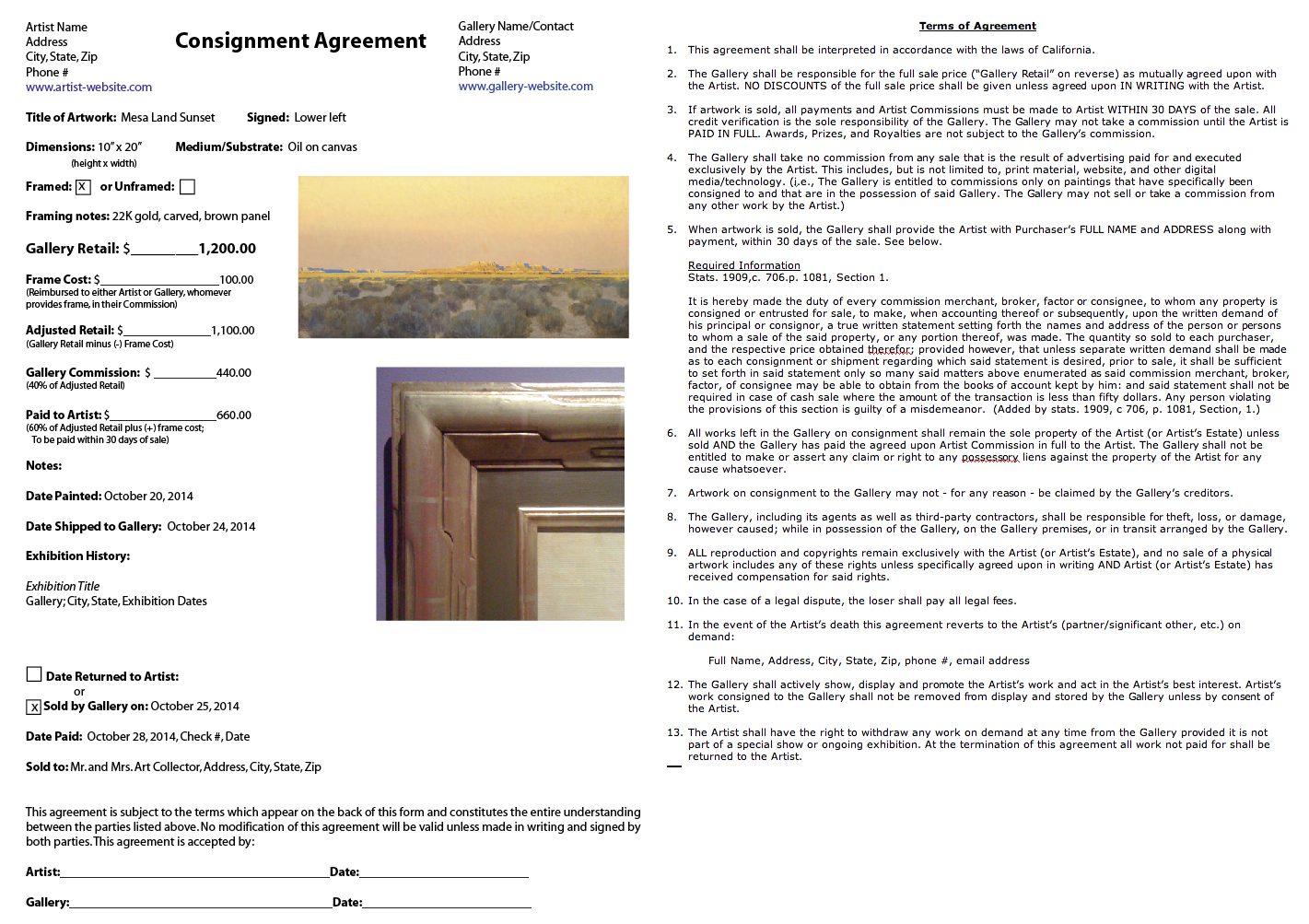 Consignment Forms for Artists - Weu0027re All In This Together u2014 Eric - consignment form template