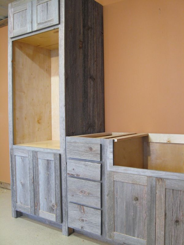 Rustic Cabinets Weathered Gray Barn Wood Kitchen — Barn Wood Furniture