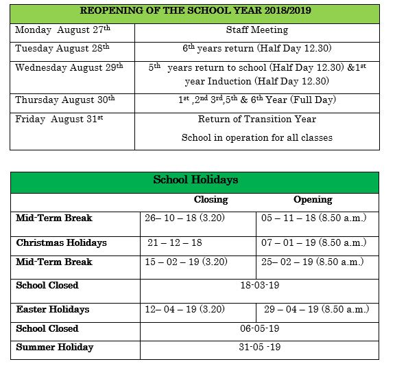 2018-2019 Term Calendar \u2014 Sacred Heart Secondary School