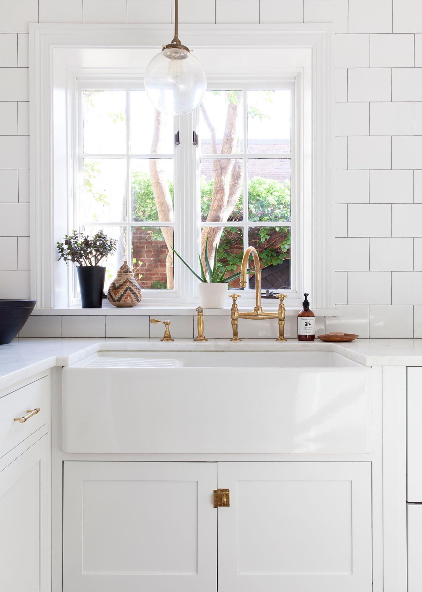 specifications daniel frisch architecture unlacquered brass kitchen faucet Kitchen Trend Brass Hardware Blue Door Living