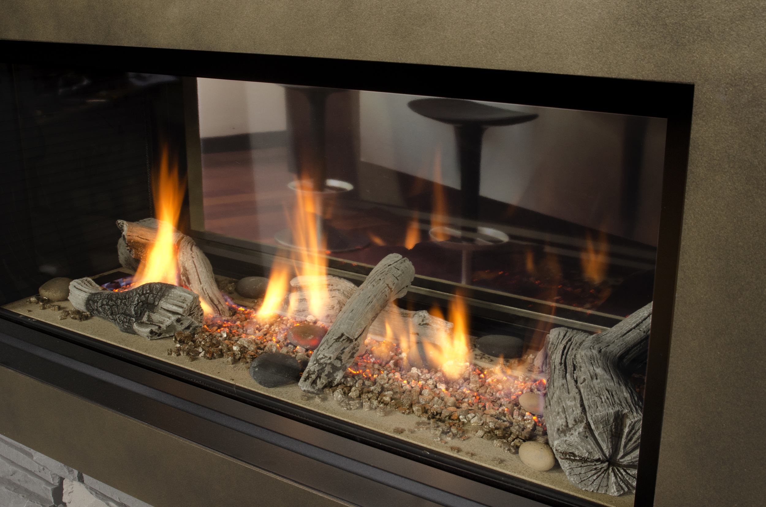 Two Sided Indoor Outdoor Gas Fireplace : indoor gas fireplace : Gas Fireplace