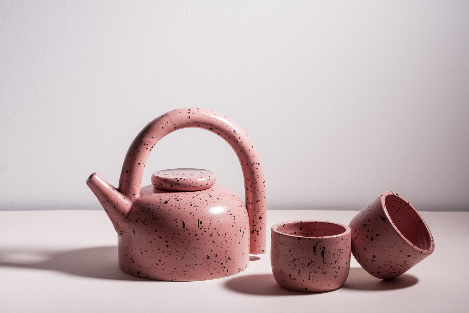 Teapot With Cup Dark Peach Speckled Puff Teapot