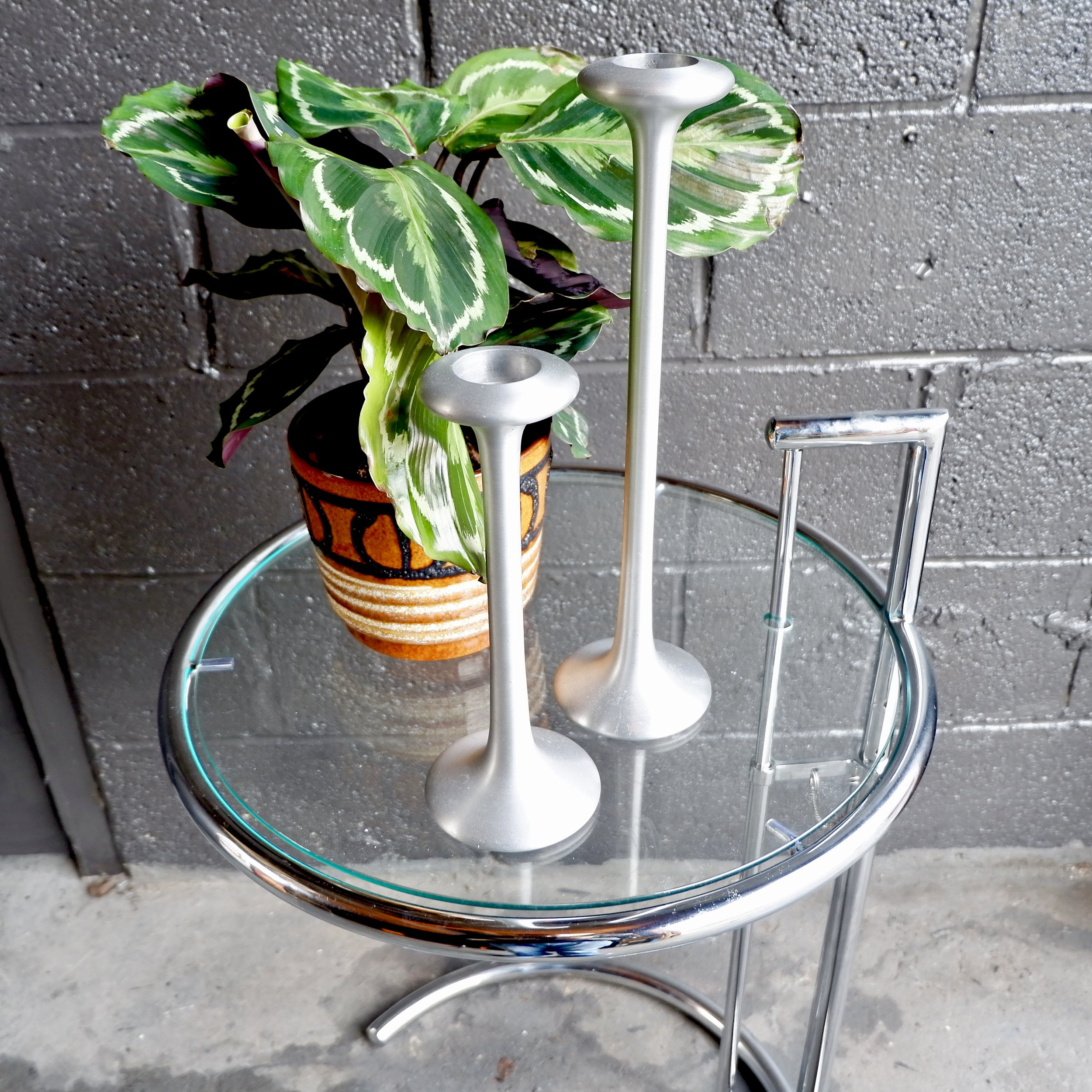 Eileen Gray Table Retro Vintage Eileen Gray Chrome Glass Side Table
