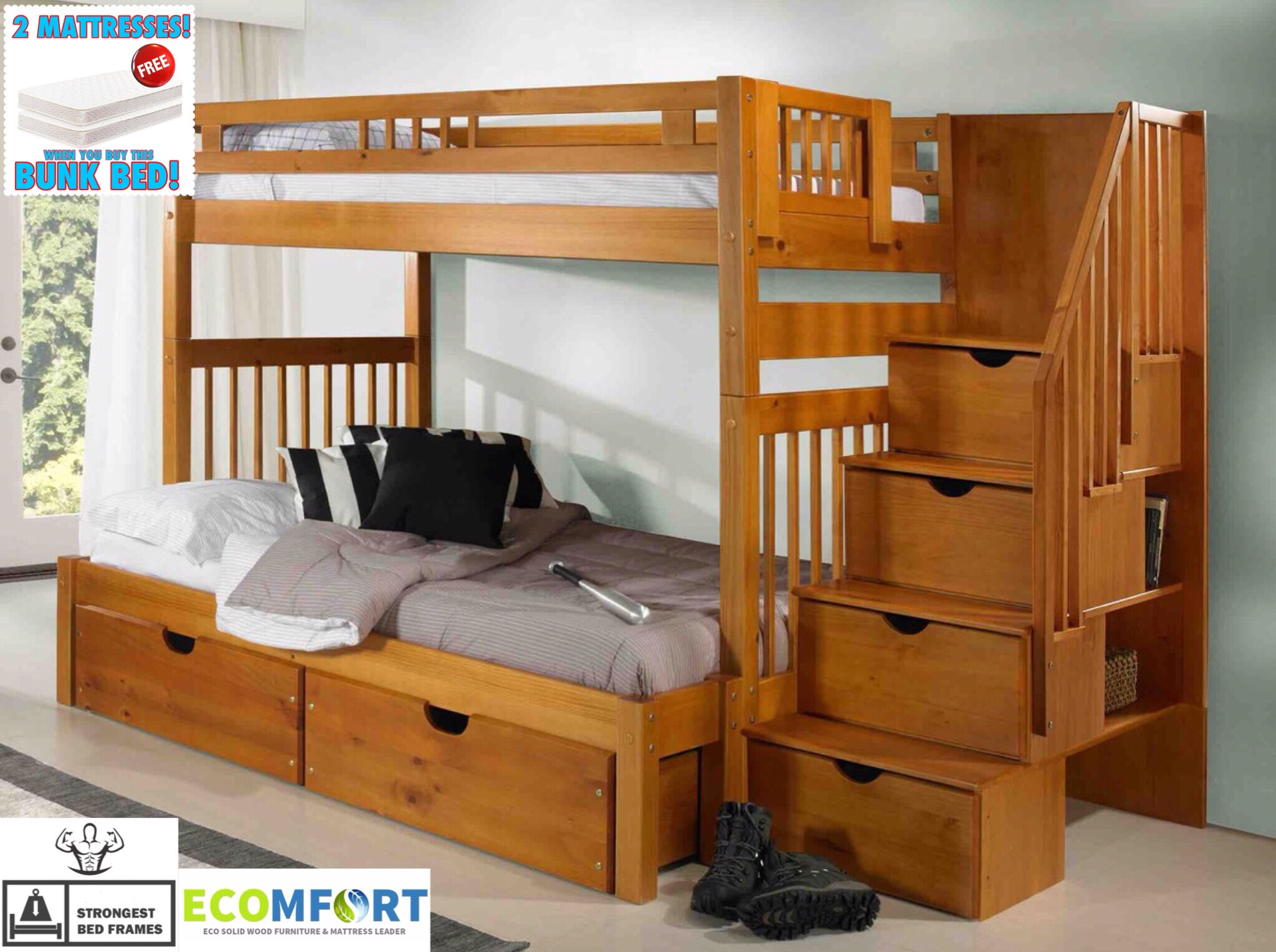 Under Bed Storage Frame New England Solid Wood Twin Full Staircase Bunk Bed Shown With Optional Under Bed Storage Drawers