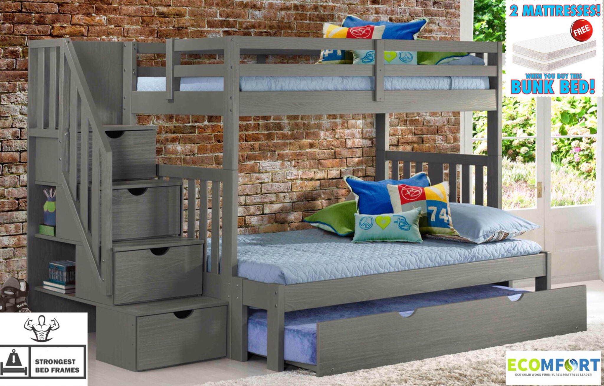 Double Bunks For Sale My Rustic Solid Wood Twin Full Staircase Bunk Bed Shown With Optional Underbed Roll Out Trundle Bed