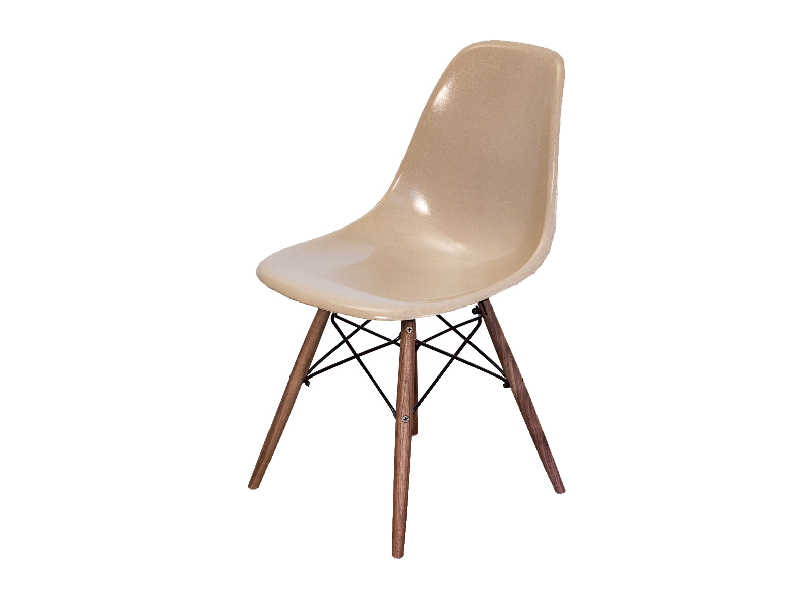 Eames Chair Beige Greige Eames Shell Chairs On Walnut Dowel Base Oam