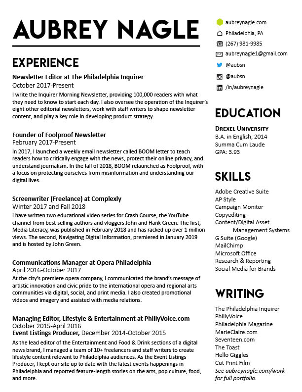 Resume \u2014 Aubrey Nagle