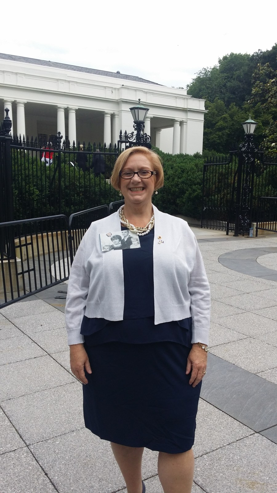 Susan outside the private guest entrance to The White House. Photo courtesy Susan Mitchell-