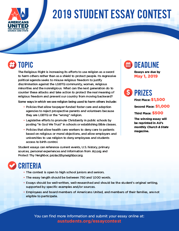Essay Contest \u2014 Students for Church/State Separation