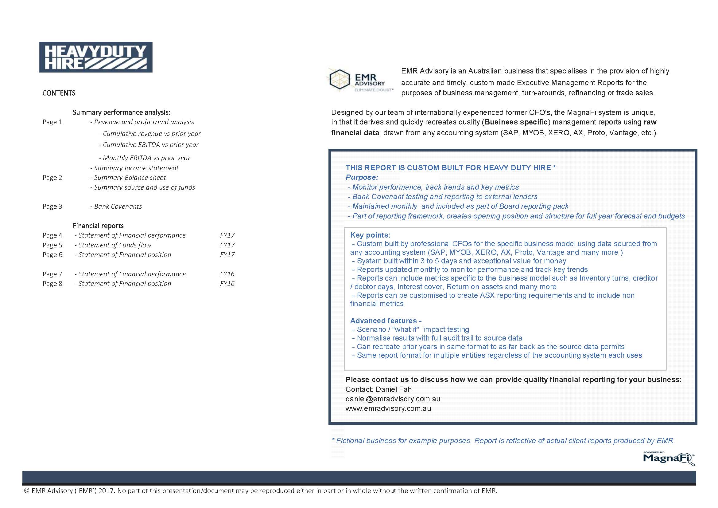 Reporting Examples \u2014 EMR Advisory - Finance Report Format