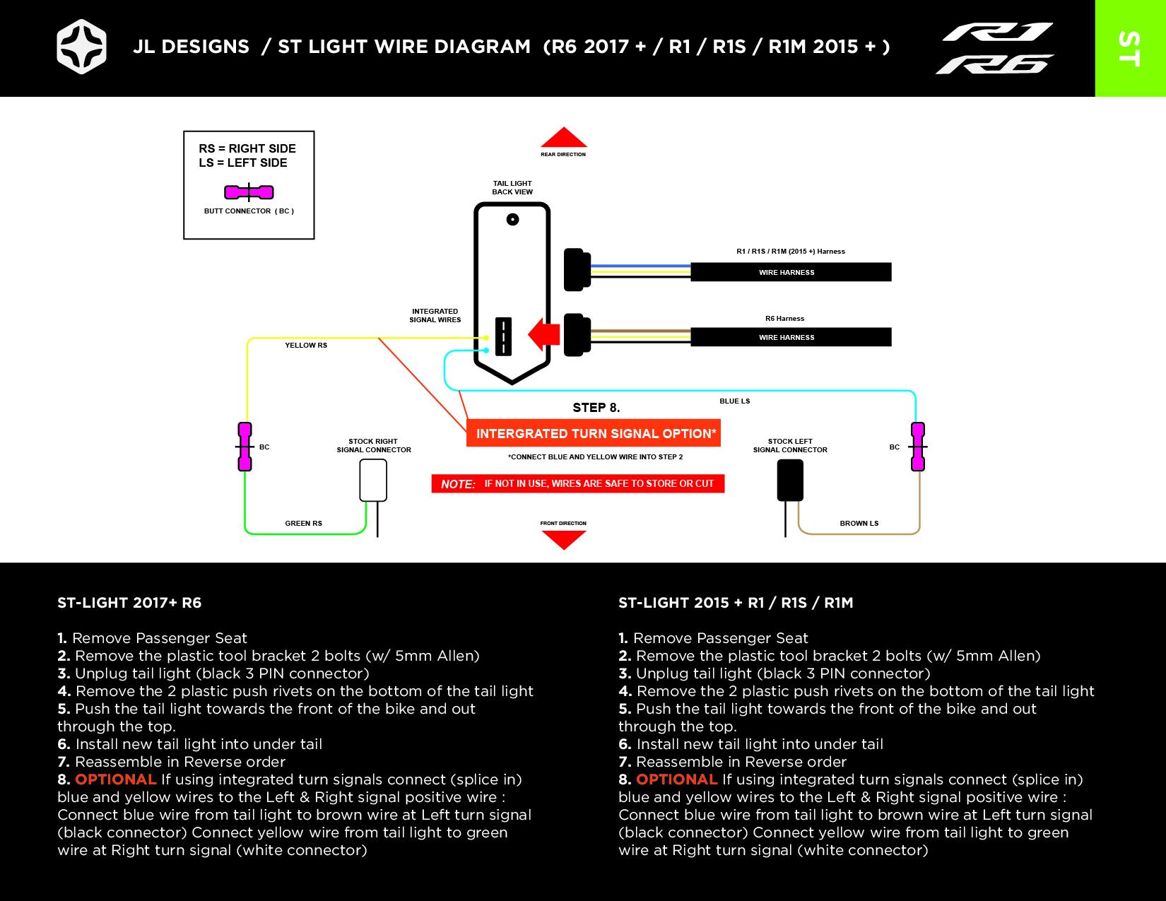 Install \u2014 JL Designs - Custom Yamaha R1 R6 Parts - Tail light