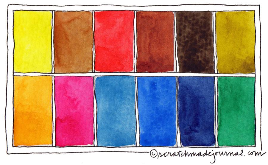 12-Color Watercolor Palette \u2014 Scratchmade Journal