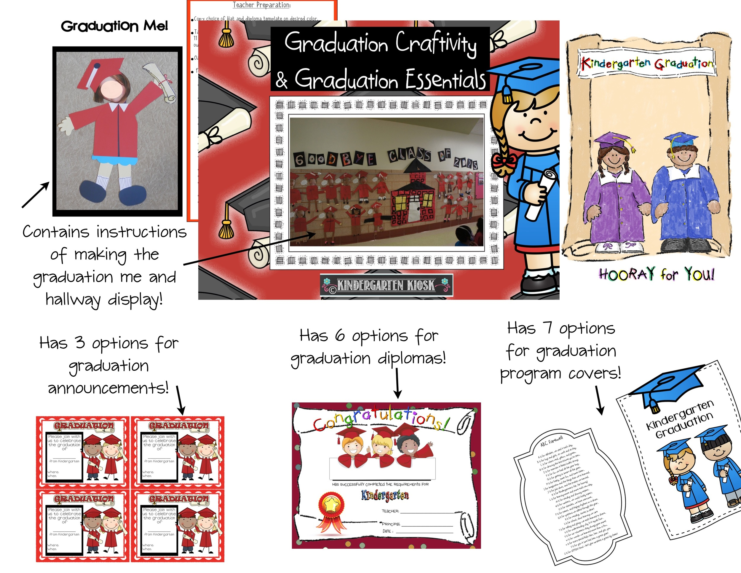 Kindergarten Graduation Craftivity and Other Graduation Essentials - graduation program covers
