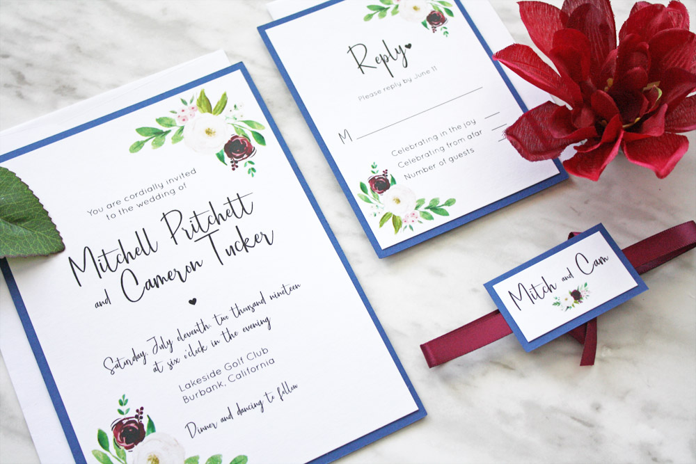 Navy Blue and Marsala Wedding Invitations \u2014 always, by amber