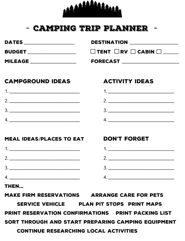 Camping Trip Printable Planner \u2014 Campfire Travelers