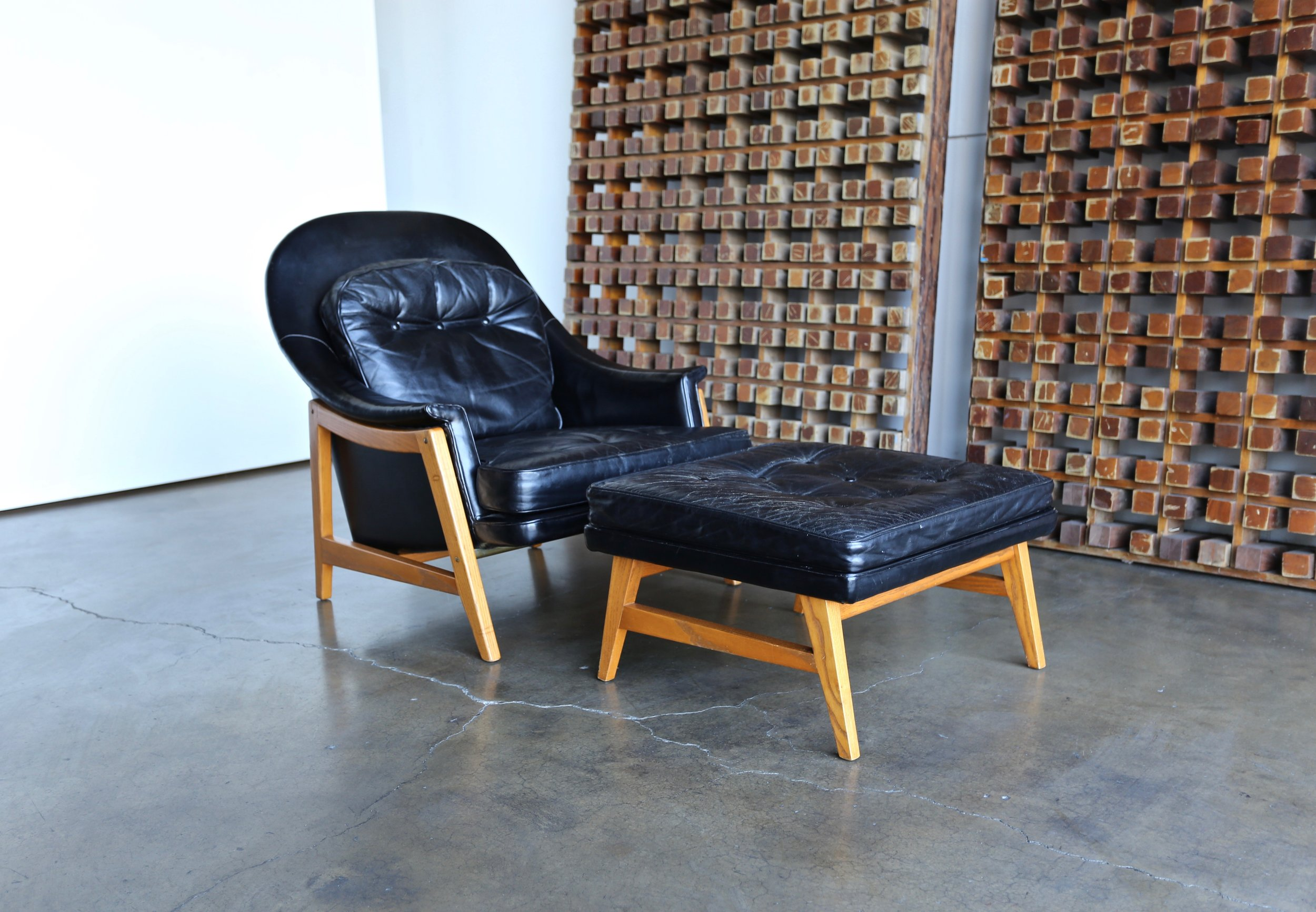 Leather Lounge Edward Wormley Leather Lounge Chair And Ottoman For Dunbar Circa 1957