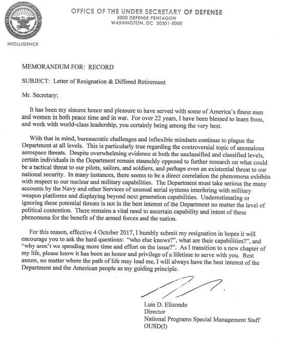 Luis Elizondo\u0027s Alleged Letter of Resignation Circulating on Social
