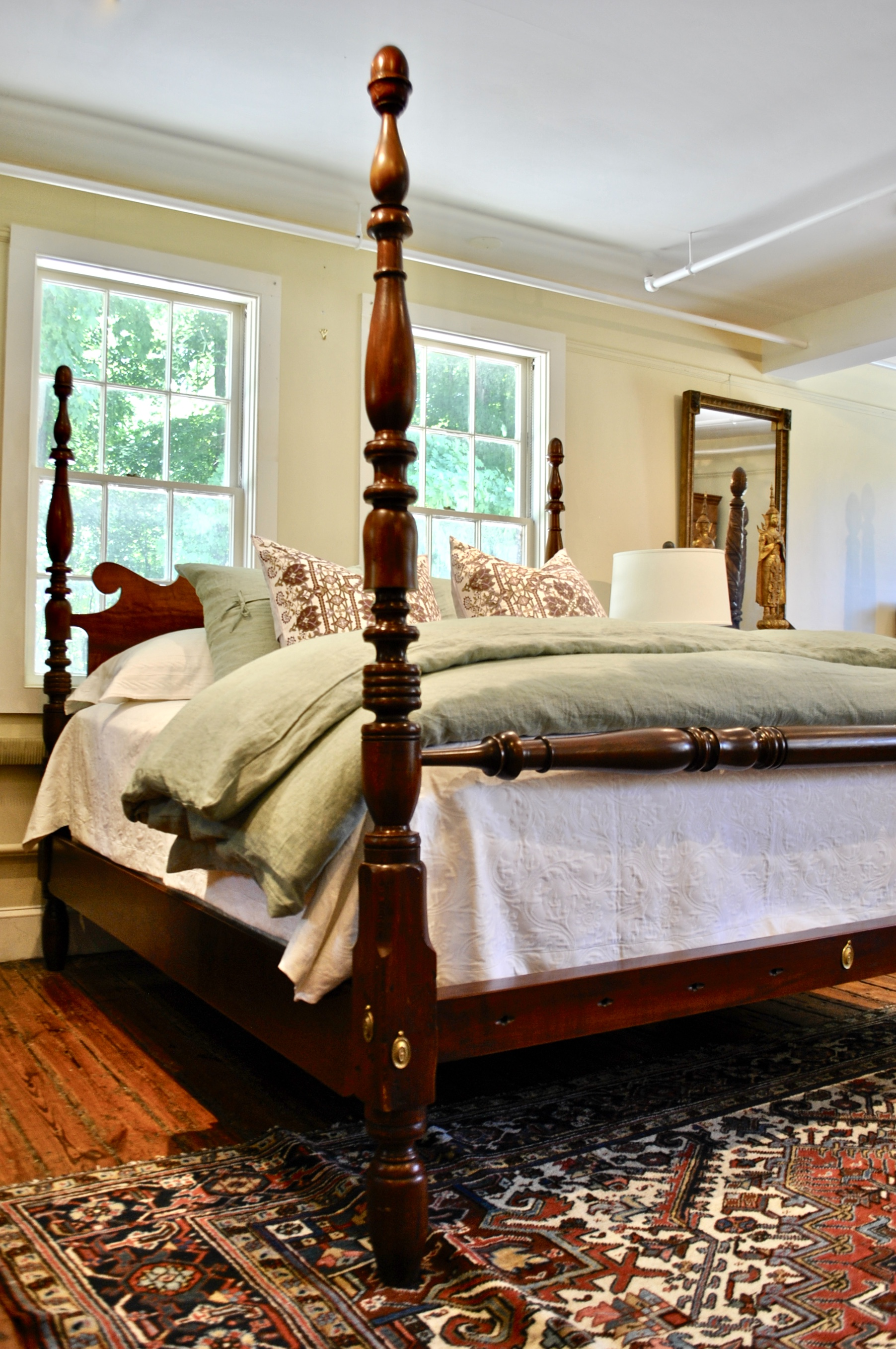 King Bed With Posts Sheraton Tall Post Bed In Maple Original Posts Circa 1820 Resized To King W Ram S Ear Headboard Blanket Rail