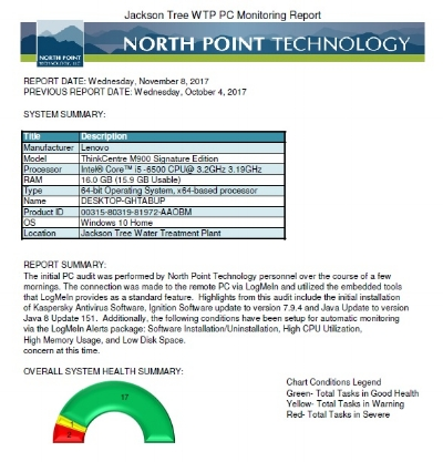 North Point Technology, LLC-Computer Health Monitoring Industrial