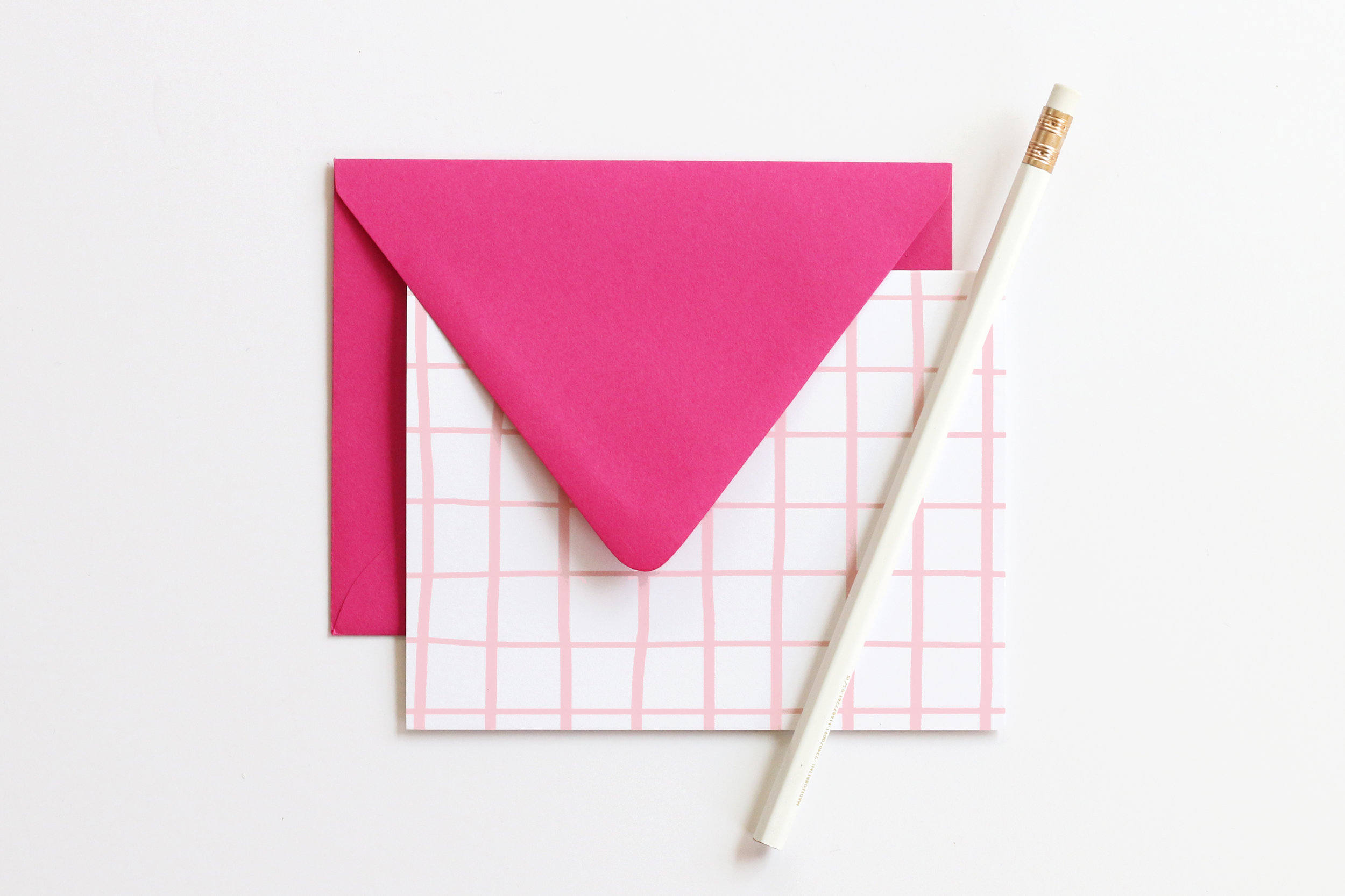 Pink and White Grid Note Cards \u2014 When it Rains Paper Co Colorful
