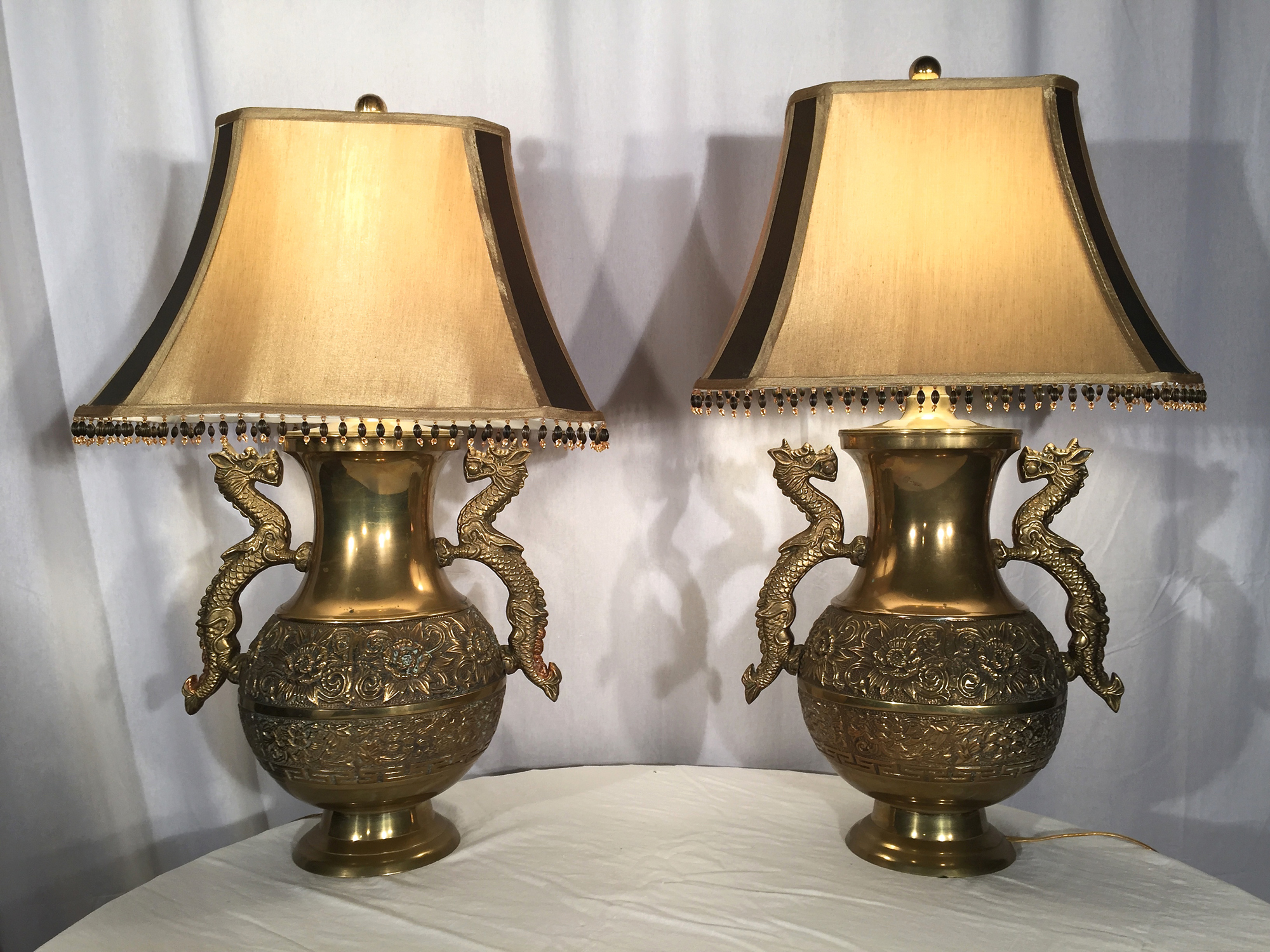 Dragon Lamps For Sale Pair Of French Brass Repoussé Dragon Lamps The Elemental Garden